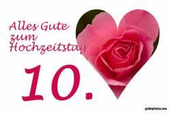 Rosenhochzeit,  Herz rote Rose