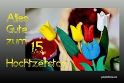 Karte 15. Hochzeitstag Tulpen, bunt