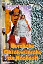 Hochzeitskarte Superheld Bauarbeiter mit Braut