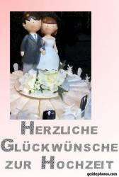 Hochzeitskarte mit Brautpaar und Torte