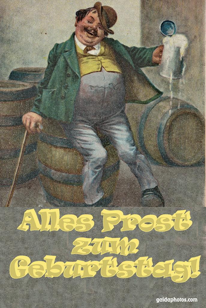 Geburtstagskarte, Prost, Biertrinker