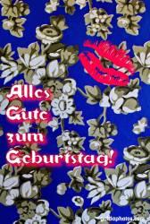 Geburtstagskarte, Tapete, Blumen, Kuss