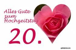 Karte 20. Hochzeitstag Herz rote Rose