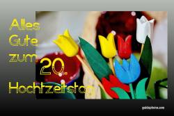 Karte 20. Hochzeitstag Tulpen, bunt