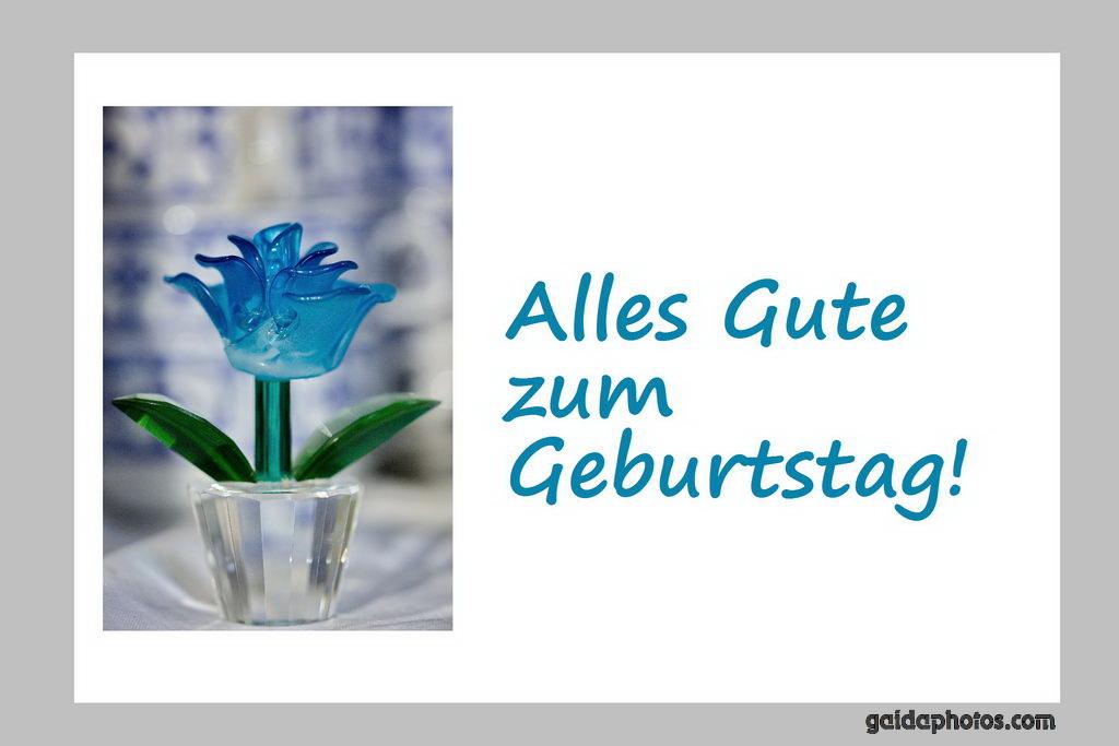 Geburtstagskarte Blume türkis