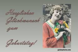 Geburtstagskarte Frau Blumenstrauß Antik