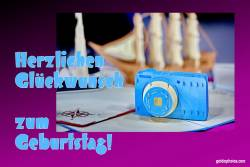 Karte zum Geburtstag, Kamera, Fotoapparat