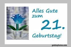 21. Geburtstag Karte Blume türkis
