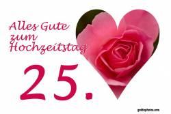 25 Hochzeitstag Karten Herz rote Rose