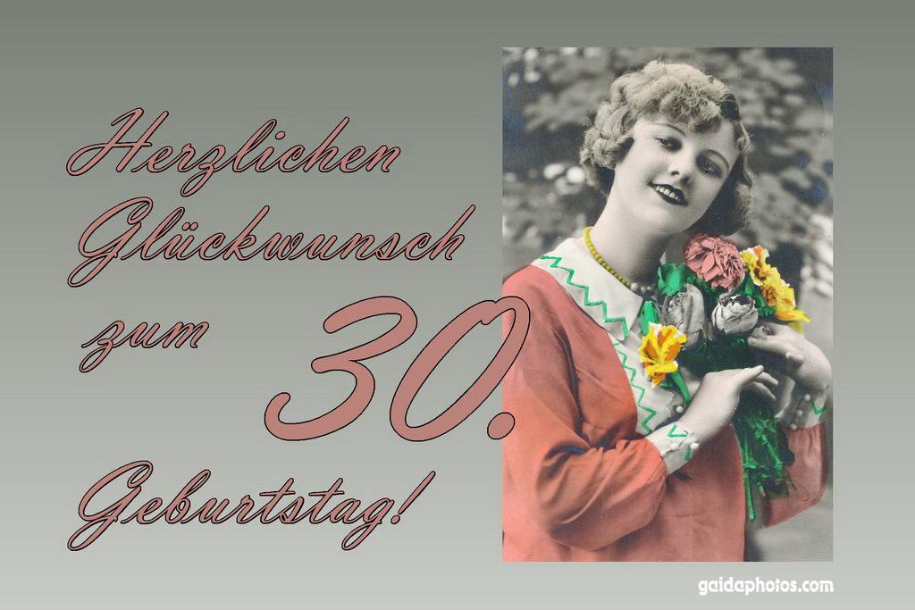 30. Geburtstag Karte Frau Blumenstrauß Antik