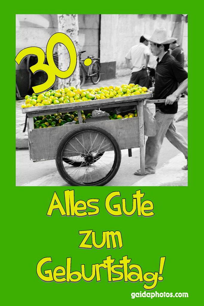Karte 30. Geburtstag Zitronen