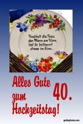Karte zum 40 Hochzeitstag Gedicht Rubinhochzeit