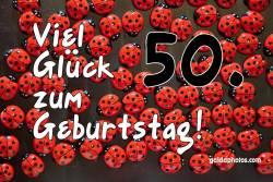 Karte 50. Geburtstag Marienkäfer