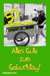 Karte 50. Geburtstag Zitrone