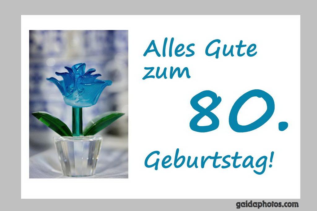 80. Geburtstag Karte Blume türkis