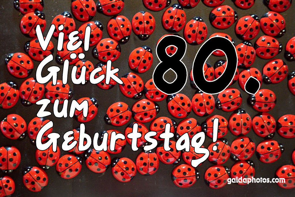 80. Geburtstag Karte Marienkäfer