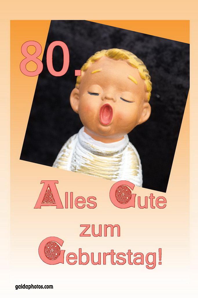 80. Geburtstag Karte Engel singt