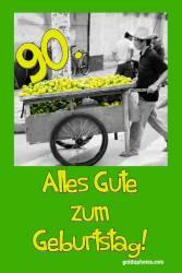 90. Geburtstagskarte Zitrone
