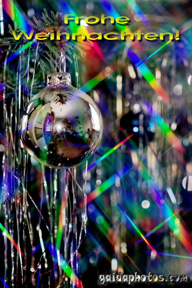 Frohe Weihnachten Karte, Weihnachtskugeln, bunt