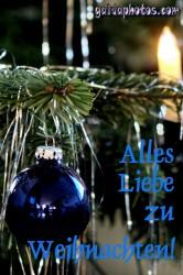 Frohe Weihnachten Karte, Weihnachtskugeln, blau