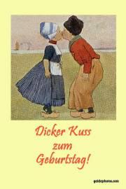 Geburtstagskarte, Holland, Paar, Kuss, Kinder