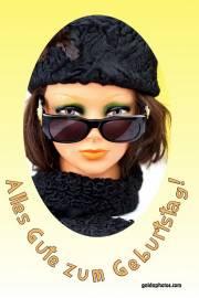 Geburtstagskarte, Frau, Sonnenbrille, Pelz