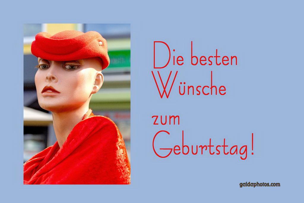 Geburtstagskarte, Frau mit Hut, rot