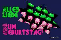 Geburtstagskarte, Liebe, Frosch, Schwein