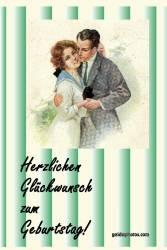 Geburtstagskarte, Paar, historisch
