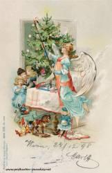 Weihnachtskarte: Engel, Kinder, Bescherung, 1898