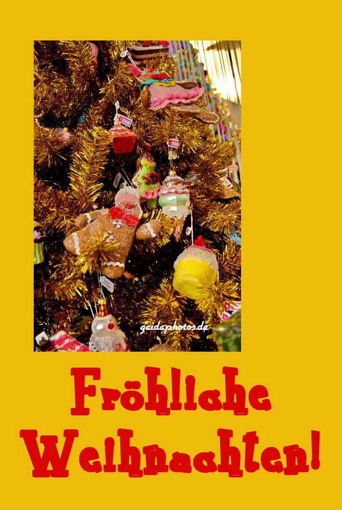kostenlose Weihnachtskarte mit Weihnachtsbaum